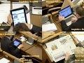 Z fotiek je zjavné, že monitoring médií počas rozpravy vnímajú naši zákonodarcovia ako podstatnú súčasť svojej práce.