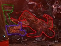 Desivý záber, ktorý má zachytávať zhorené telo Paula Walkera a Rogera Rodasa krátko po smrti vo vraku auta.