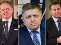 Prezident Andrej Kiska, premiér Robert Fico a šéf národniarov Andrej Danko