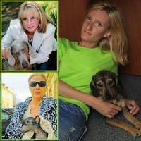 Elena Vacvalová, Adela Nora Mojsejová a Adela Banášová so svojimi psíkmi.