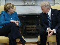 Angela Merkelová na stretnutí s Donaldom Trumpom.
