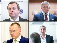 Andrej Danko, Robert Fico, Boris Kollár a Béla Bugár