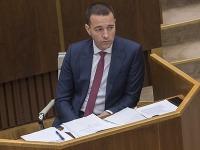 Na snímke minister zdravotníctva SR Tomáš Drucker (SMER-SD) počas rokovania 23. schôdze NR SR 6. decembra 2017 v Bratislave.