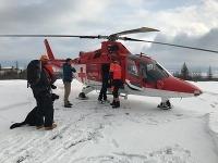 Pri nešťastí pomáhali aj leteckí záchranári z Popradu