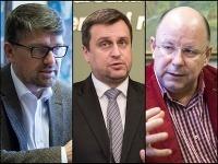 Názory na koncesionárske poplatky sa rôznia. Na snímke zľava Marek Maďarič, Andrej Danko a Jaroslav Rezník.