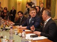 Robert Fico s Robertom Kaliňákom sa na Úrade vlády stretli s delegáciou z Európskeho parlamentu.