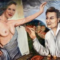 KOLÁŽ: Kristína Mikulčík-Farkašová pri maľbe aktov Karlom Gottom.