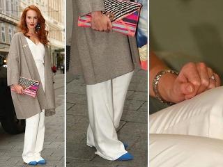 Tatiana Pauhofová pútala pozornosť aj svojimi dlhými nohavicami a záhadným prsteňom na ruke.