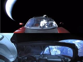Fotografie Starmana v Tesla Roadster