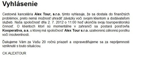 Vyhlsenie Alextour