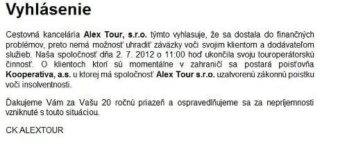 Vyhlásenie Alextour