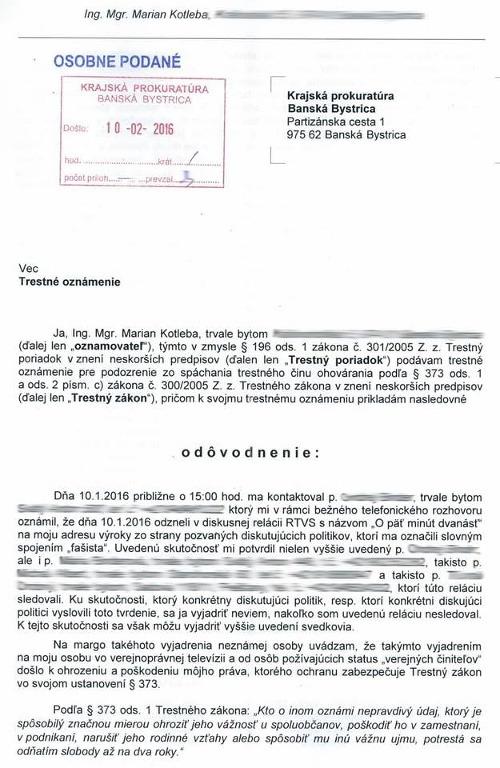 Kotleba podáva trestné oznámenie:
