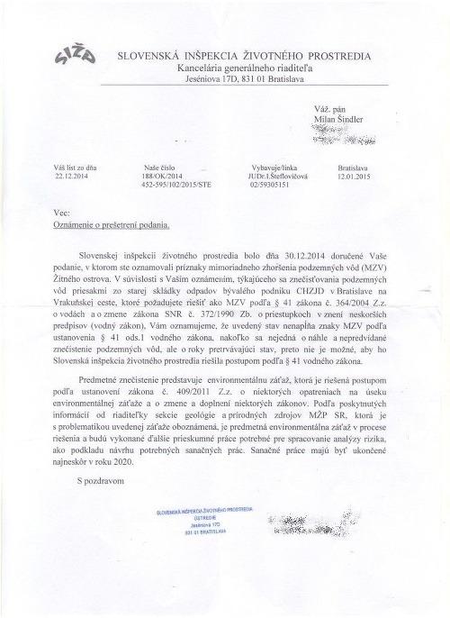 Najväčšia kontaminácia Slovenska, o