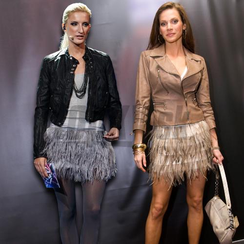 Adela Banášová a Andrea Verešová ako pštrosie dámy.