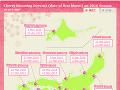 Mapa kvitnutia japonských čerešní
