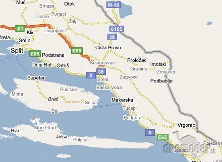 Chorvatsko mapa destinacii