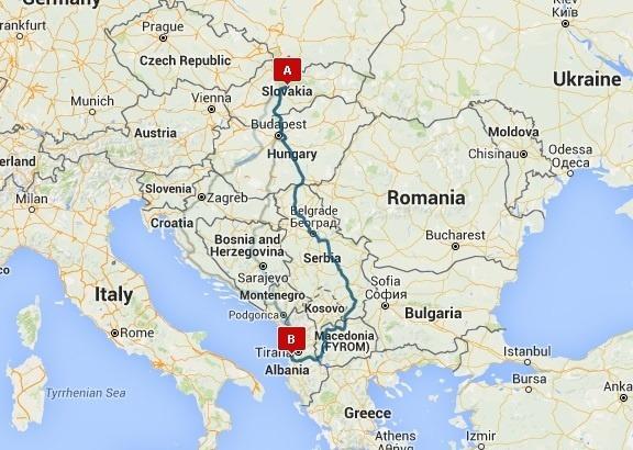 Mapa cesty zo Slovenska