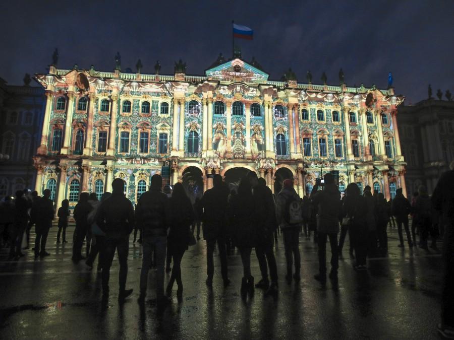 Svetelná šou v Petrohrade