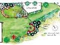Pôdorys navrhovanej záhrady pri
