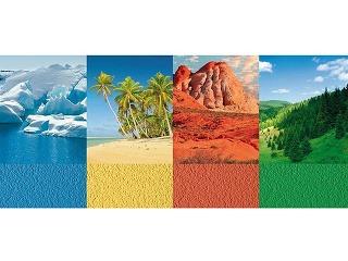 Farby vody, piesku, zeme