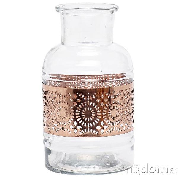 Sklenená váza Copper smedeným