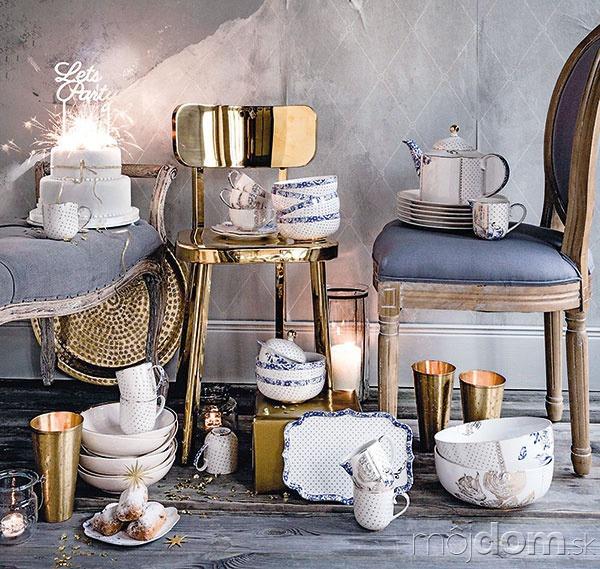 Sviatočný porcelán kombinujúci vintage
