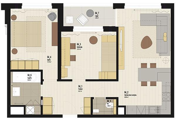 Podorys bytu 3 +