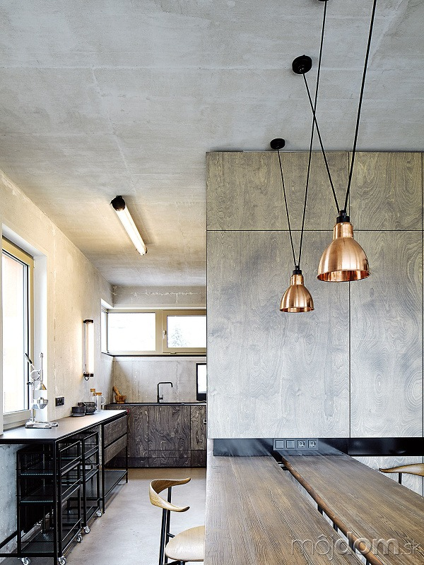 Kuchyni jednoznačne vládne betón.