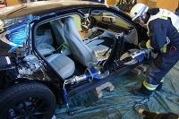 Porsche Panamera zničená hasičmi