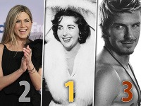Jennifer Aniston, Elizabeth Taylor a David Beckham