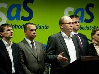 Členovia strany SaS Ľubomír Galko, Juraj Miškov, Richard Sulík a Daniel Krajcer