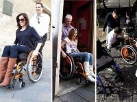 Andrea Pálffy-Belányiová a Miriam Kalisová si vyskúšali, aké to je pohybovať sa na invalidných vozíkoch. Ján Mečiar si pri tom vyrobil menší trapas - spadol z neho.