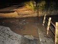 Prepadnutý most na Majdán.