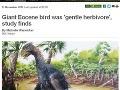 Dvojmetrový praveký vták: Vraj mierumilovný bylinožravec!