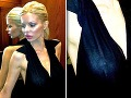 Blesk fotoaparátu odtajnil, čo skrýva Silvia Kucherenko pod čiernymi šatami.