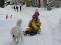 V Kyjeve je najviac snehu za sto rokov, ľudia vytiahli lyže