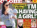 Titulná strana magazínu Globe, podľa ktorej je Kate Middleton opäť v druhom stave.