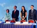 Zľava: Katarína Macháčková, Radoslav Procházka, Katarína Cséfalvayová a Ján Orlovský počas ustanovujúceho snemu strany Sieť.