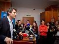 Kandidát na primátora Bratislavy Ivo Nesrovnal počas brífingu po ohlásení predbežných výsledkov komunálnych volieb 2014