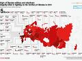 Mapa pôvodu ruských vojakov, ktorí boli údajne zavraždení na Ukrajine v roku 2014 (rozdelenie podľa regiónov)