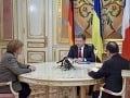 Angela Merkelová a Francois Hollande rokovali s Petrom Porošenko