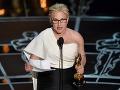 Herečka Patricia Arquette čítala svoju reč z papiera.