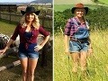 Aneta Parišková sa v kratučkých nohaviciach už nepýši tip-top postavičkou ako kedysi. Vľavo záber krátko po pôrode, vpravo aktuálna snímka.