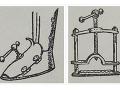 Ukážky mučiacich nástrojov (Jan Scherr: Čarodejnice a svatá inkvizice, 1910). Prístroj na pomalé vŕtanie priehlavku na nohe a lis s ostrými nožmi, v ktorom sa noha pomaly drvila.