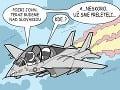 KARIKATÚRA Americké lietadlo nad