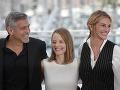 George Clooney, Jodie Foster a Julia Roberts počas propagácie svojho filmu.