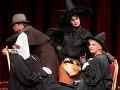 Pod vreckovkou Peter Cibula ako operný sólista Enrico Basilica, nad ním Michal Soltész ako kočiš dostavníka, vpravo dole Adriana Krúpová ako čarodejnica Starenka Oggová, nad ňou Beáta Drotárová ako čarodejnica Babka Zlopočasná.