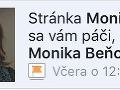 Fanúšikom Moniky Beňovej na Facebooku v pondelok vyskočil oznam o zmene názvu stránky.