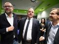 Zľava: Predseda SAS Richard Sulík, kandidát na post predsedu BSK Juraj Droba a podpredseda strany SaS Ľubomír Galko