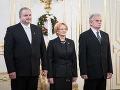 Zľava: Sudcovia Miroslav Duriš, Jana Laššáková a Mojmír Mamojka počas vymenovania sudcov Ústavného súdu SR prezidentom SR v Prezidentskom paláci.